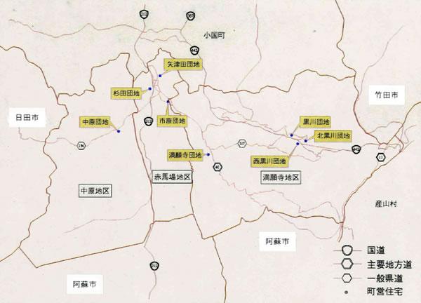 町営住宅等位置図の画像