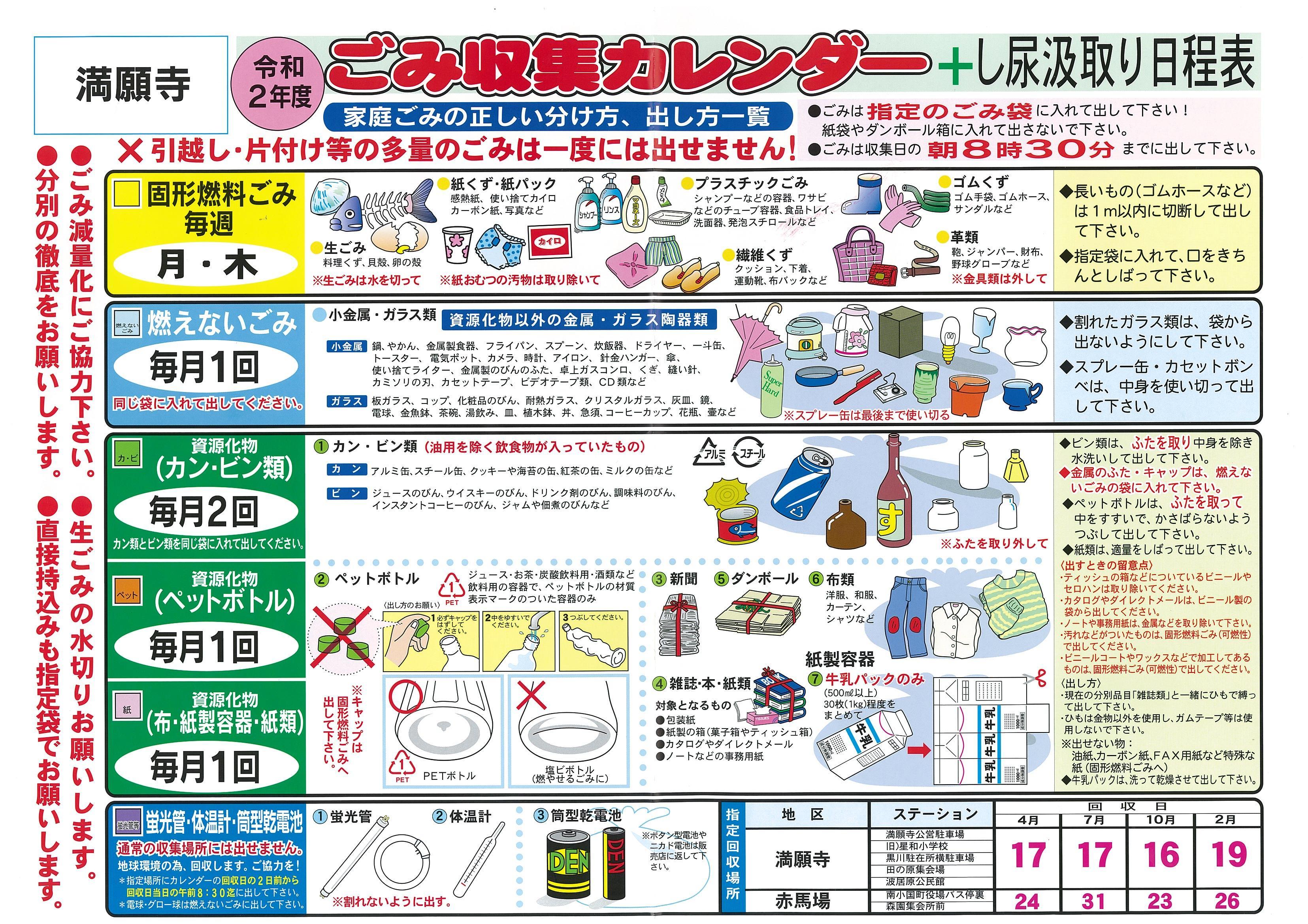ごみ収集カレンダー+し尿汲取り日程表 2019年4月から2020年3月まで
